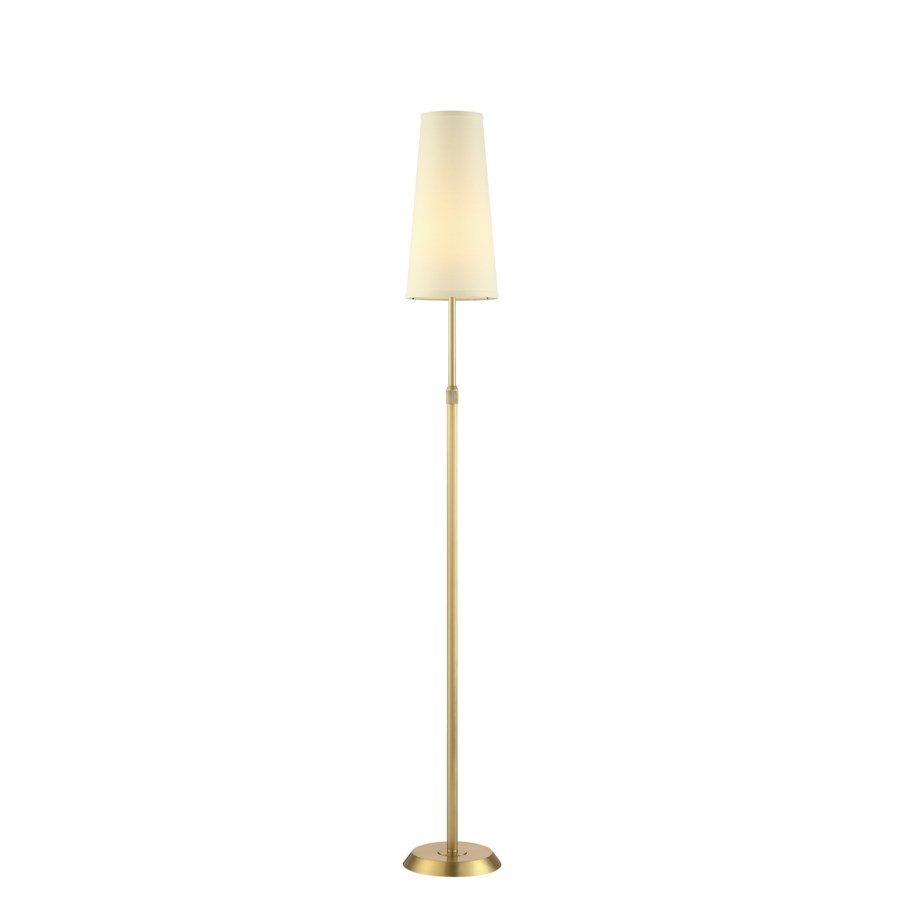 Attendorn Floor Lamp with Narrow Shade in Satin Brass ...