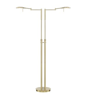 Dessau Turbo Double Floor Lamp in Satin Brass