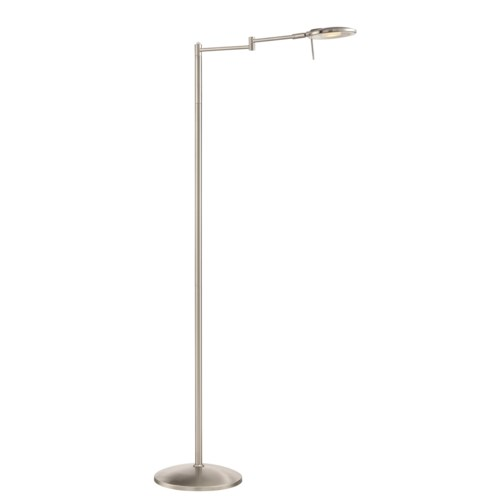 Dessau Turbo Swing-Arm Floor Lamp in Satin Nickel