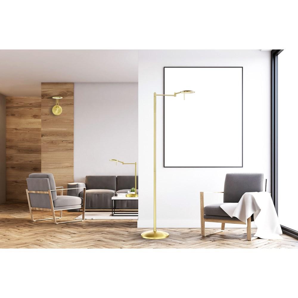 Dessau Turbo Swing-Arm Floor Lamp in Satin Brass