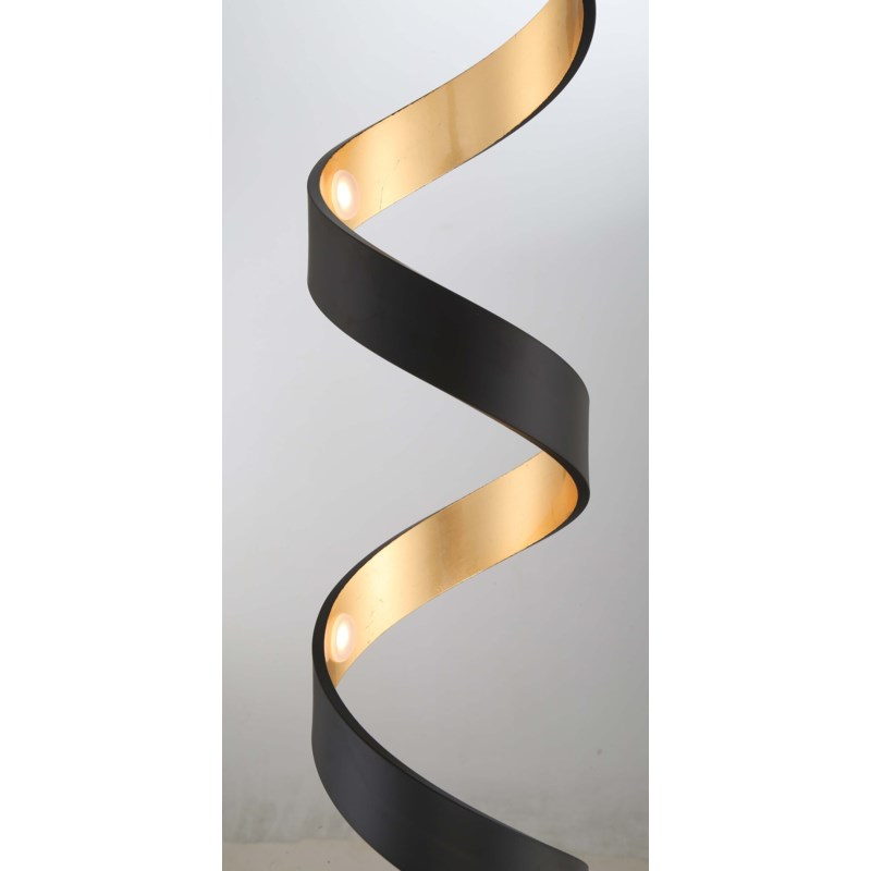 Spiral Floor Lamp In Black And Gold