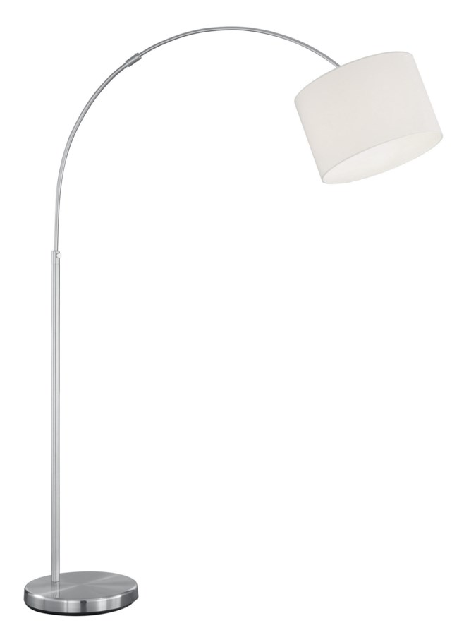ARG 461100101 Grannus Arch Satin Nickel w/White Shade Floor Lamp