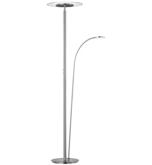 Tampa Double Pole Floor Lamp in Satin Nickel