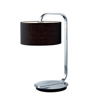 Cannes Table Lamp in Chrome with Black Shade