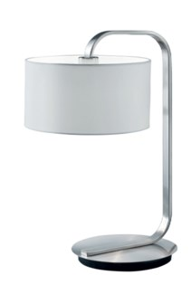 Cannes Table Lamp in Satin Nickel with White Shade