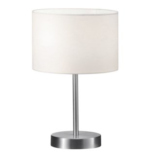 Grannus Small Table Lamp in Satin Nickel with White Shade