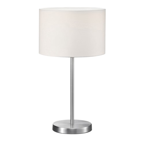 Grannus Table Lamp in Satin Nickel with White Shade