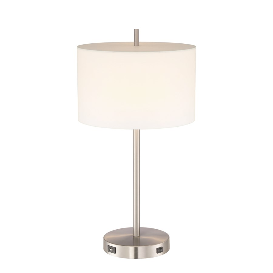 Hotel Desk Lamp in Satin Nickel with White Shade