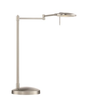 Dessau Turbo Swing-Arm Table Lamp in Satin Nickel