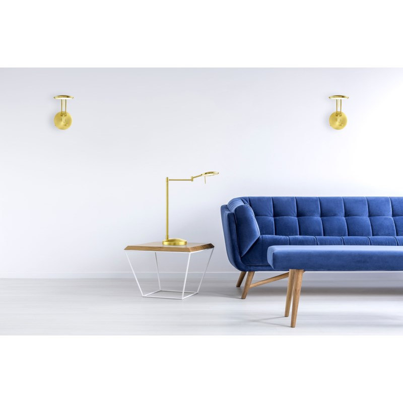 Dessau Turbo Swing-Arm Table Lamp in Satin Brass