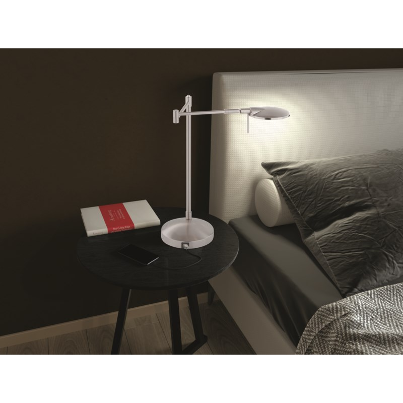 Dessau Turbo Swing-Arm Lamp with USB in Satin Nickel