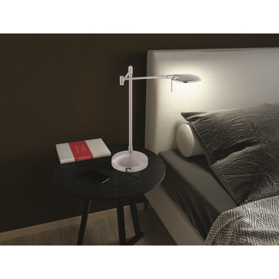 Dessau Turbo Swing-Arm Lamp with USB in Satin Nickel