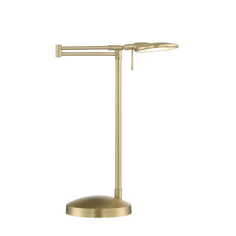 Dessau Turbo Swing-Arm Lamp with USB in Satin Brass