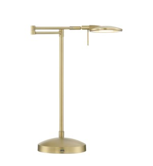 Dessau Turbo Swing-Arm Lamp with USB in Satin Brass