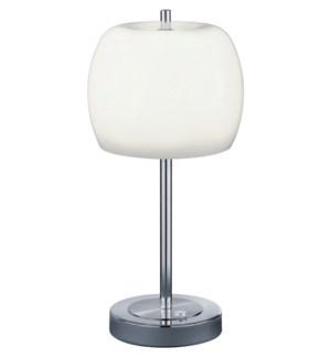 Pear Table Lamp in Satin Nickel