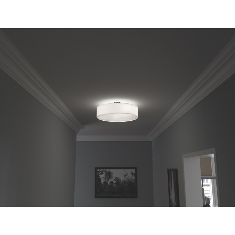 Grannus Ceiling Mount in Brushed Nickel with White Shade