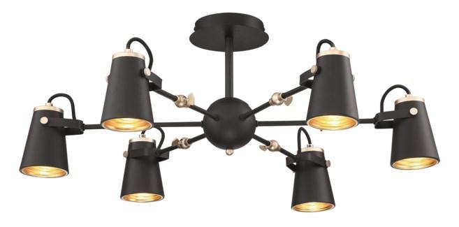Edward Semi-Flush Pendant in Black/Brass