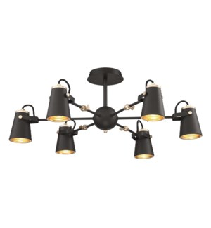 Edward Semi-Flush Pendant in Black/Brass