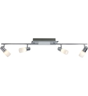 Dallas 4 Light Ceiling Mount in a Line in Brushed Aluminum