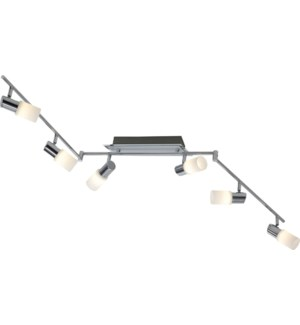 Dallas 6 Light Ceiling Mount in Brushed Aluminum
