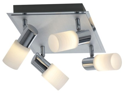 Dallas 4 Light Ceiling Mount in a Square in Aluminum Colored