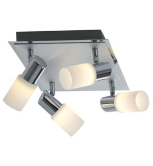 Dallas 4 Light Ceiling Mount in a Square in Brushed Aluminum