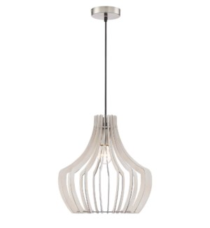 Wood Pendant with Tapered Round Shade in White