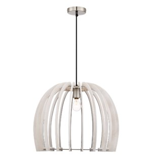 Wood Small Pendant with Dome Shade in White