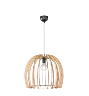 Wood Small Pendant with Dome Shade in Wood Color