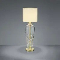 Crystal Table Lamp in Polished Brass with Champagne Shade