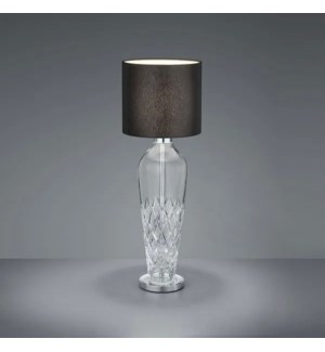 Crystal Table Lamp in Chrome with Black Shade