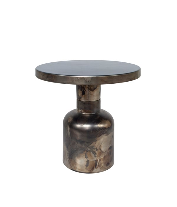 Side Table Enamel Top, Brass Base