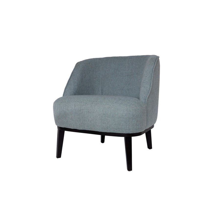 Round Loungechair With Brown Legs & Brema Fabric
