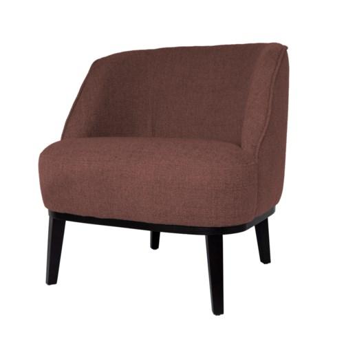 Round Loungechair With Brown Legs & Paris Fabric