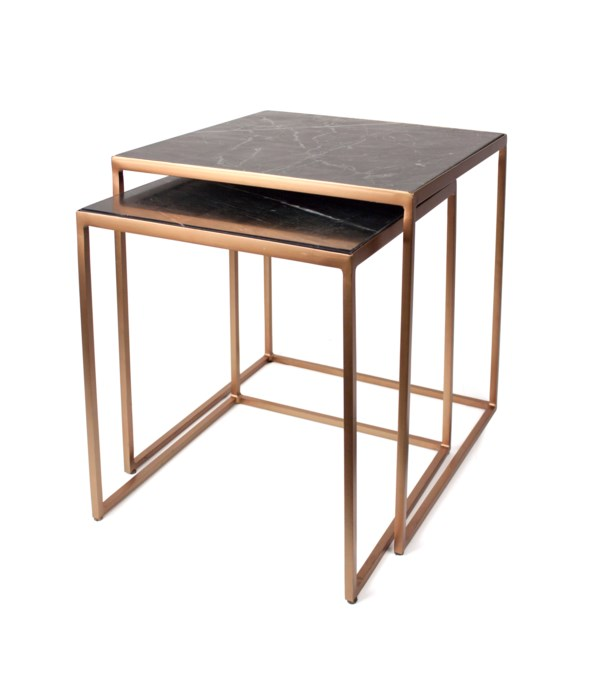 S/2 End Tables Iron & Marble