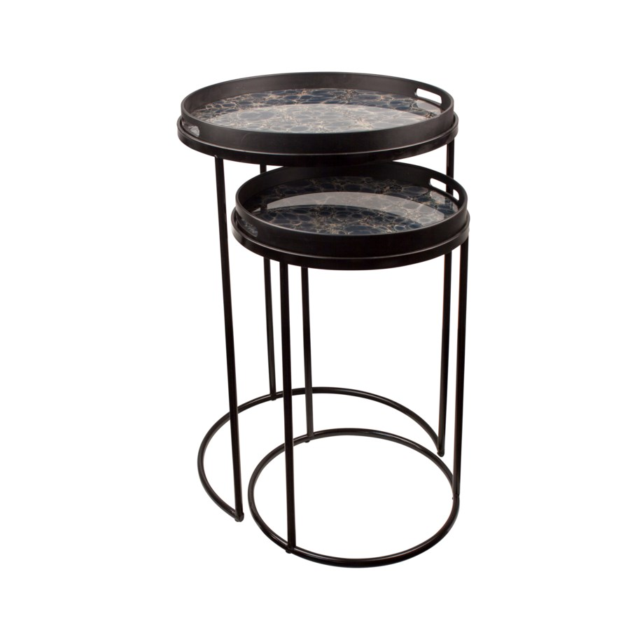 S/2 End Tables Round With Mirror Top & Handle