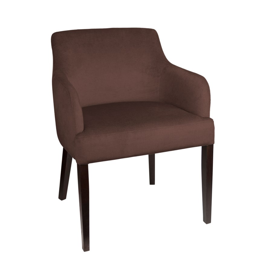 Curved Armchair With Brown Legs & Paris Fabric