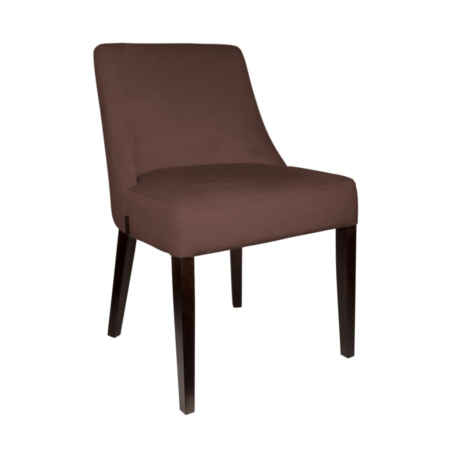 Curved Sidechair With Brown Legs & Paris Fabric