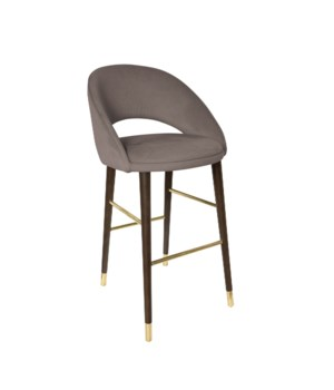 Bend Bar Sidechair With Brown Legs & Aspen Fabric