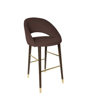 Bend Bar Sidechair With Brown Legs&Paris Fabric