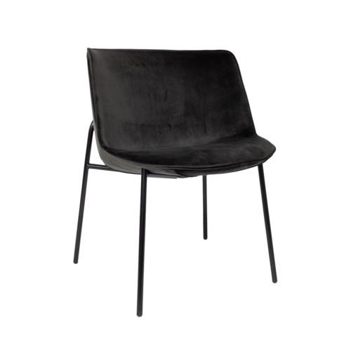 Loop Sidechair black iron frame, miraglio fabric