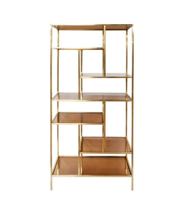 Machati Bookchest Brushed Gold, Brown Glass
