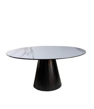 Ronda Dining Table Round, Calacatta Oro Ceramics