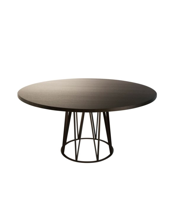 Boston Wired Table Round Veneered Oak