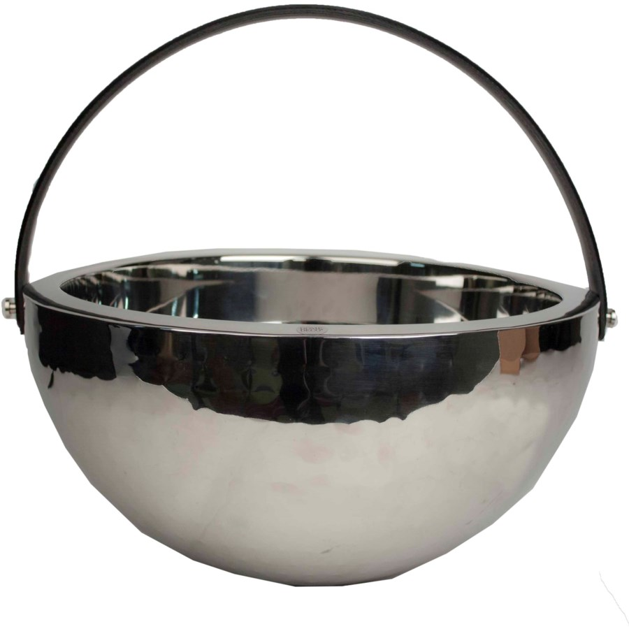 Champagne Bowl Double Wall With Black Leather Handle