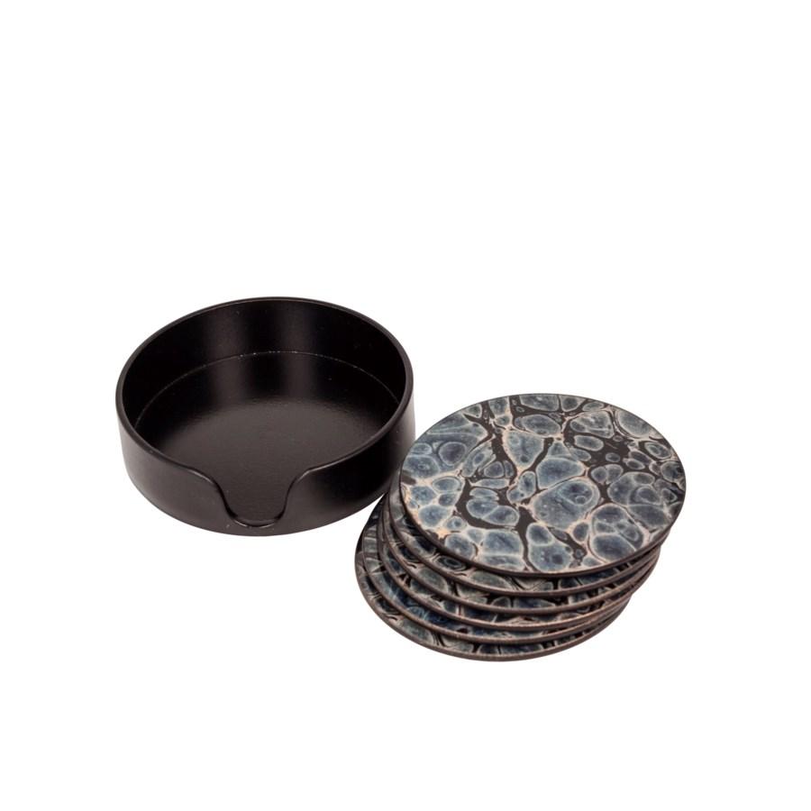S/6 Round Glass Coasters
