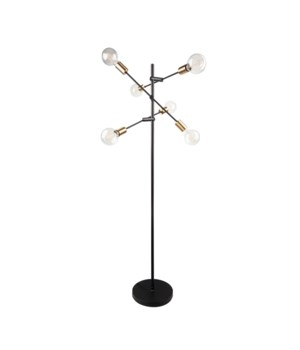 Floorlamp Metal Black&Gold+6Xled