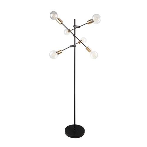 Floorlamp Metal Black&Gold+6Xled