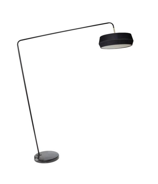 Us-Floorlamp Marble Base Black Shade & Led Bulb