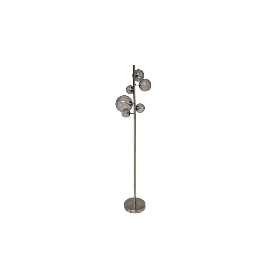 Floorlamp Black Metal, 6 Smoke Glasses & Led Bulbs